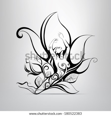 girl in flower vector
