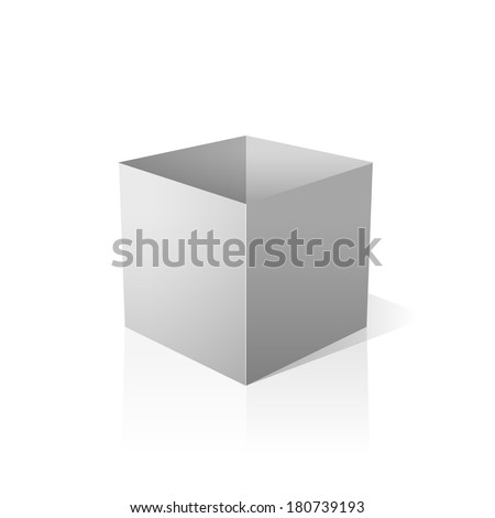 isolated open white box vector