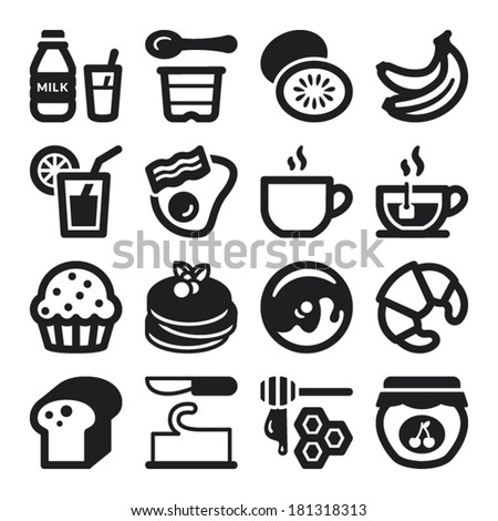 set of black flat icons about