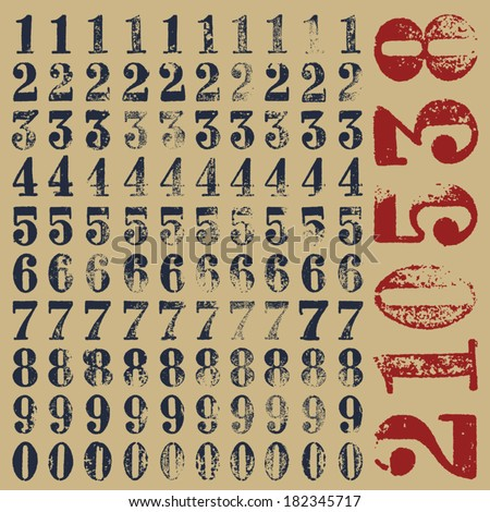rubber stamp serif numbers  ten