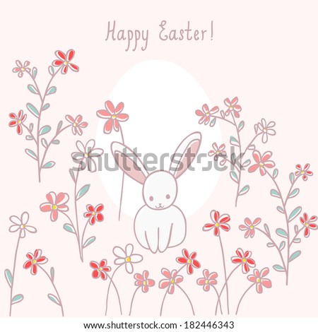 easter card with rabbit and