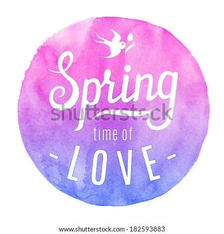 spring circle watercolor label