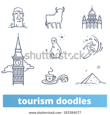 tourism doodles  hand drawn