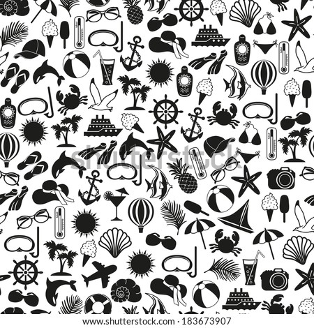 seamless pattern summer icons