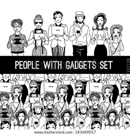 people with gadgets set