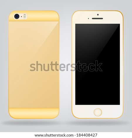 vector smart phone of gold