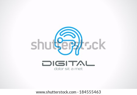 digital head line art vector