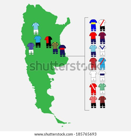 argentinian league clubs map