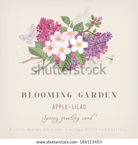 spring vintage greeting vector