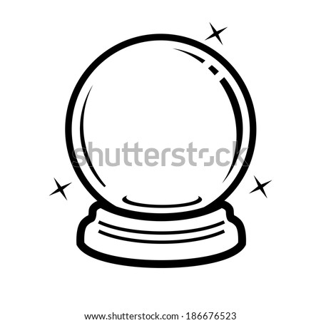 vector black crystal ball icon