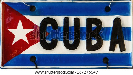 red blue white cuban flag on