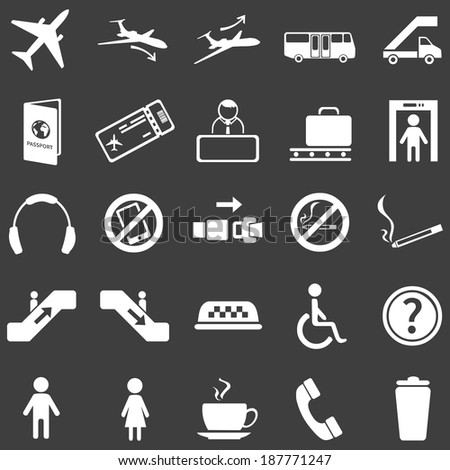 vector set of 25  white airport