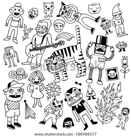 funny doodles black and white