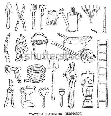 hand drawn garden tools  spring