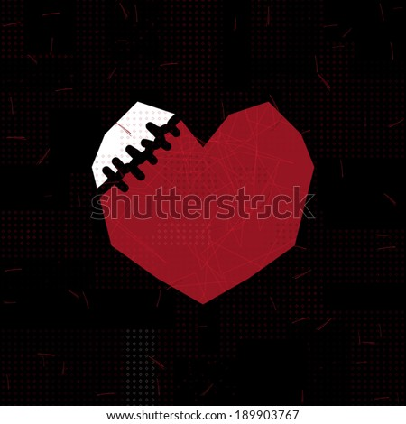 black sewn heart on red