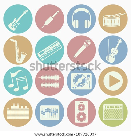 music icons set with color
