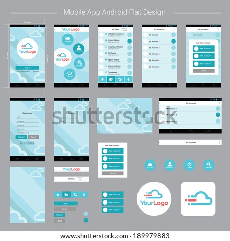 mobile app android flat