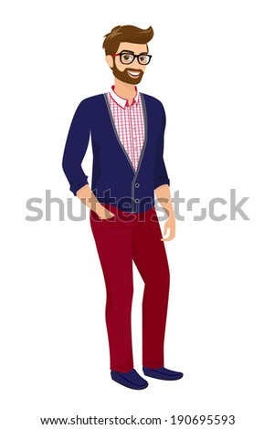 hipster guy wearing red fashion
