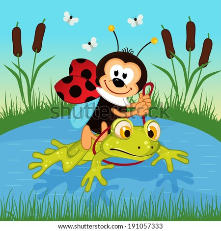 ladybug riding on frog