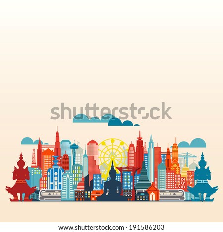 colorful panorama asia city and