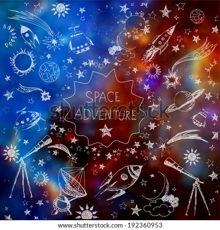 card with space objects  stars