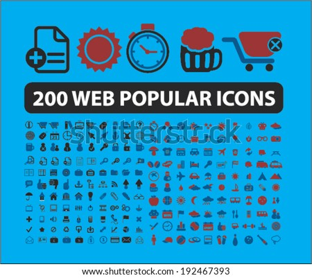 200 web popular icons  signs