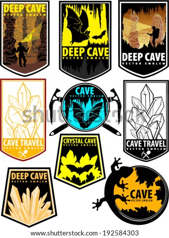 set of vector cave emblems on
