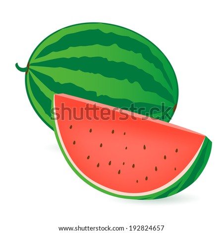 watermelon a whole and a slice