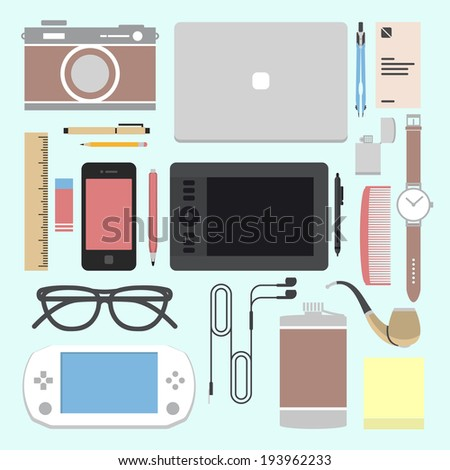 vector set of equipment for
