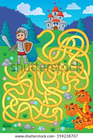 maze 1 with knight and dragon
