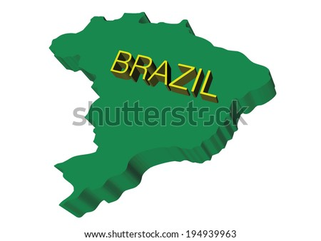 map of brazil in 3d green
