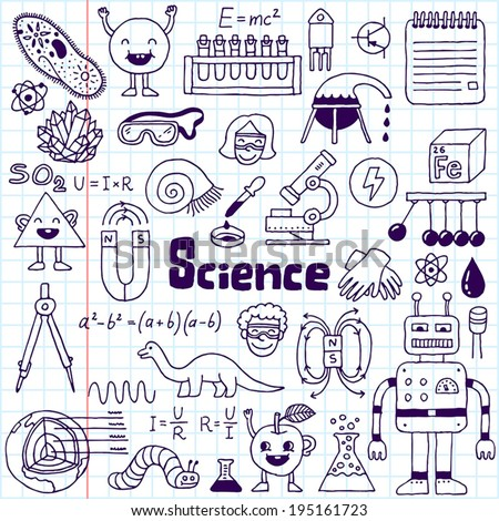 school science doodle set 1