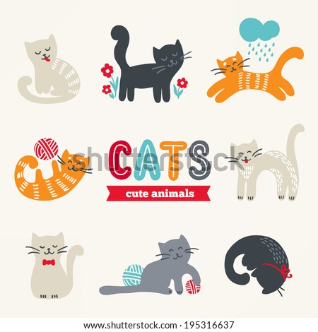 set of cute eight cats with