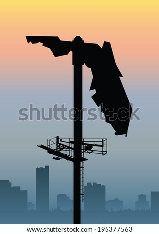a silhouette of a billboard in