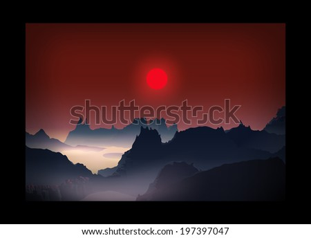 sunrise sunset landscape red
