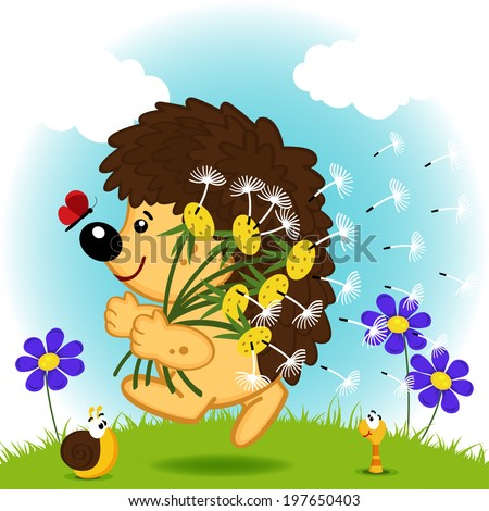 hedgehog with dandelions
