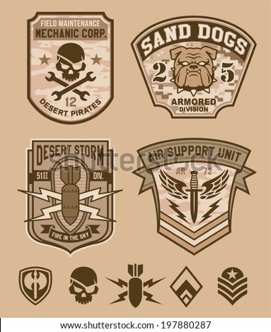 desert military emblem patch set