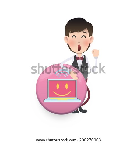 business people holding button