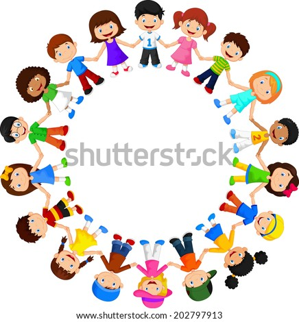 circle of happy children
