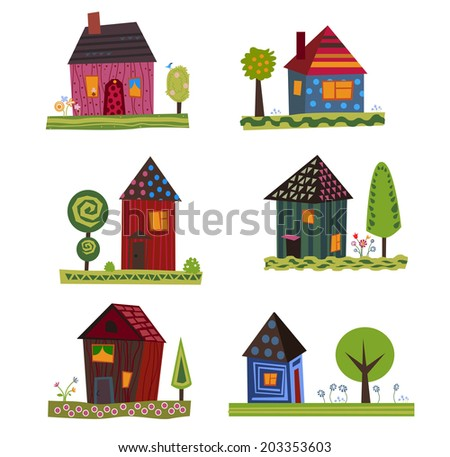 cute little houses vector