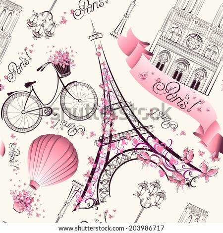 paris symbols seamless pattern