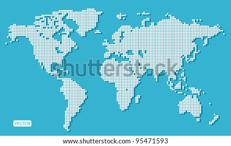 blue world map dotted