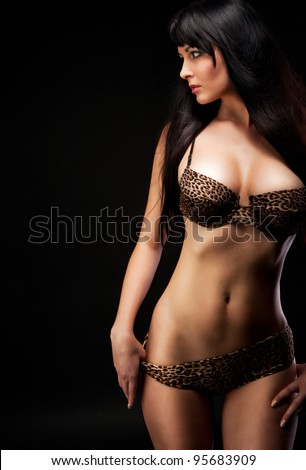 woman in leopard linergie over