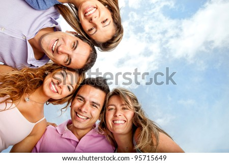 group of close friends smiling
