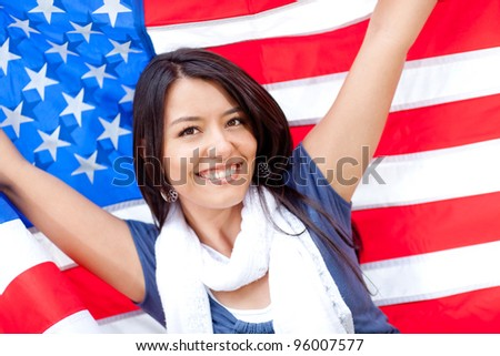 proud woman with the american
