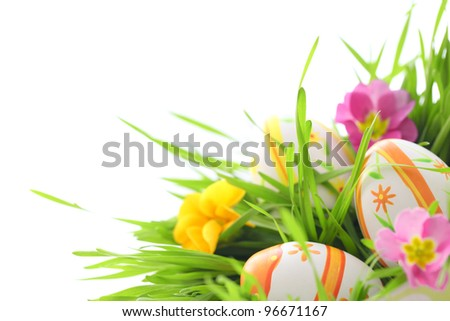 easter eggs with primrose in