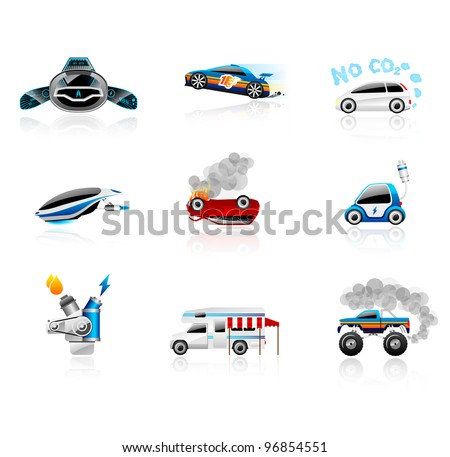 car icons set different types