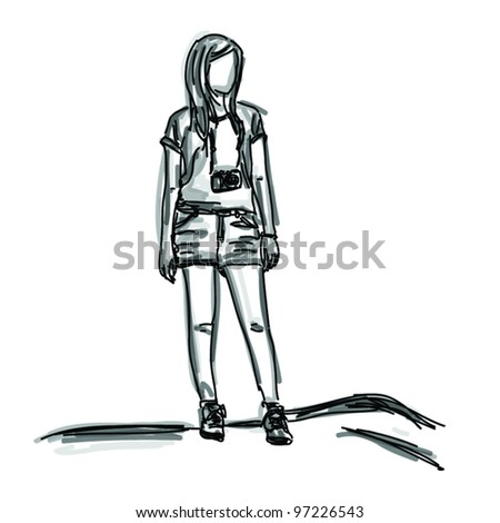 vector free hand sketch girl