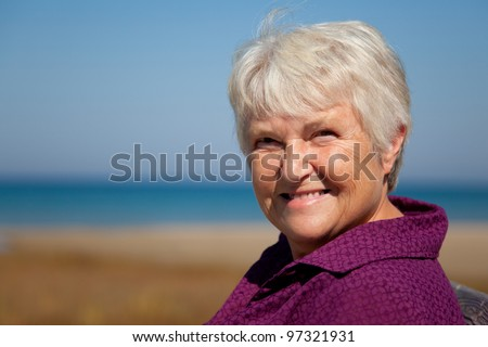 a senior woman  head and