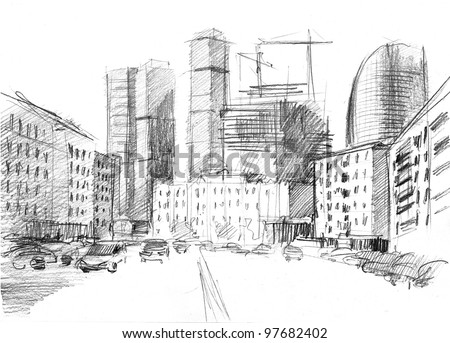 hand drawn of a big city with a